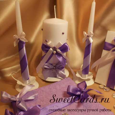 Свадебные свечи из атласных лент своими руками